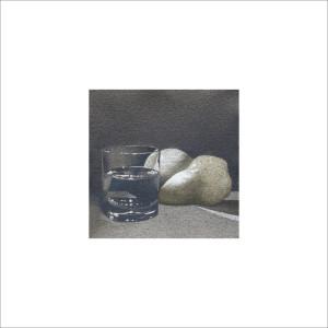 Due pere e un bicchiere, 2013, tecnica mista, cm 12x12