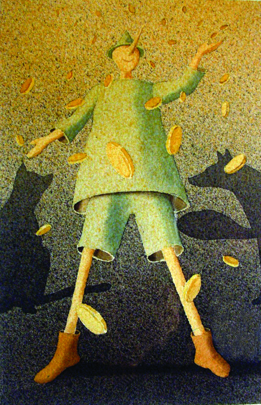Pinocchio, 2011, tecnica mista su carta, cm 25x35