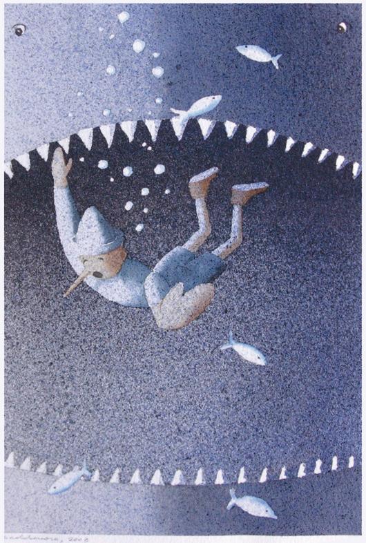 Pinocchio 2, 2011, tecnica mista su carta, cm 25x35