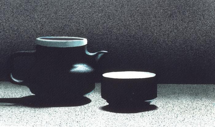 Una tazza di tè 2, 2011, tecnica mista su carta, cm 15x25