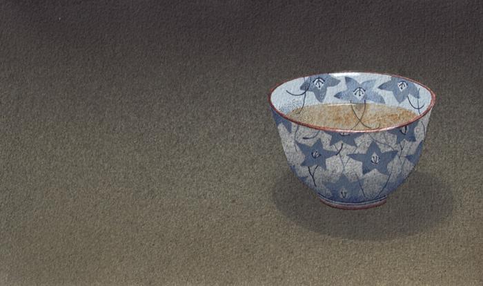 Una tazza di tè 5, 2011, tecnica mista su carta, cm 15x25