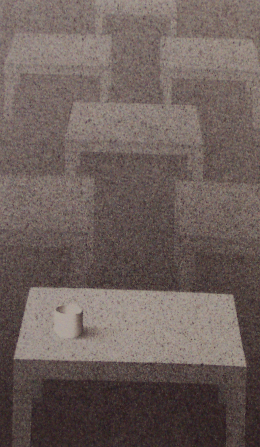 Un tavolo e un bicchiere, 2002, tecnica mista su carta, cm 15x15