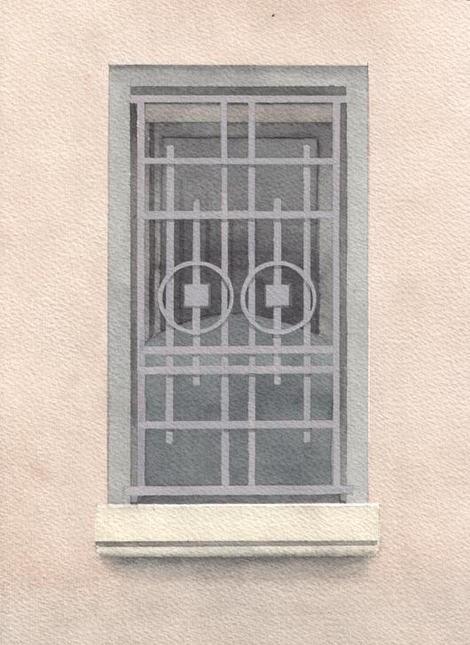 Finestra 1, 2008, tecnica mista su carta, cm 18x24