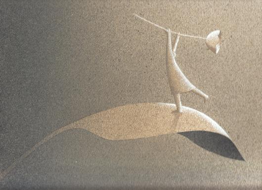 In alto, 2007, tecnica mista su carta, cm 15x25