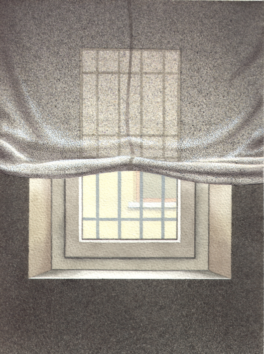 Finestra 4, 2008, tecnica mista su carta, cm 18x24