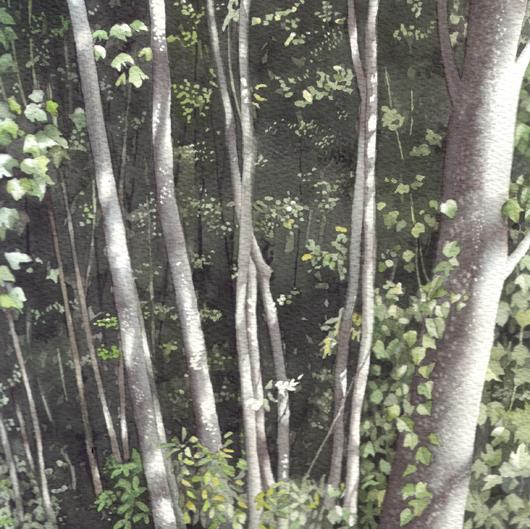 Luci e ombre, 2010, tecnica mista su carta, cm 20x20