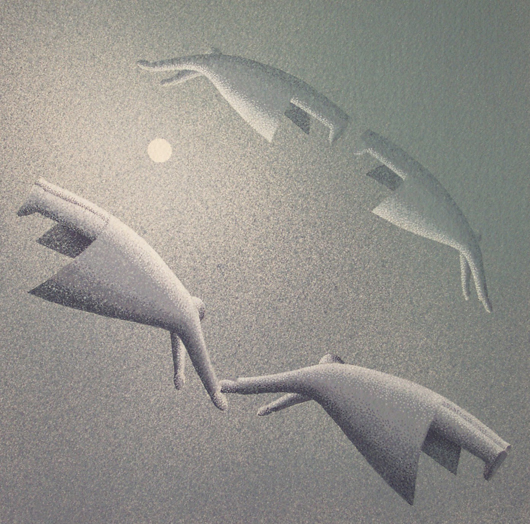 Separarci e ritrovarci, 2006, tecnica mista su carta, cm 30x30