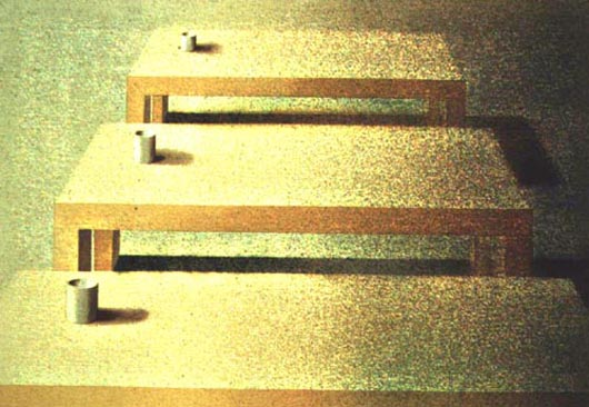 Tre tavoli, 2001, tecnica mista su carta, cm 33x47