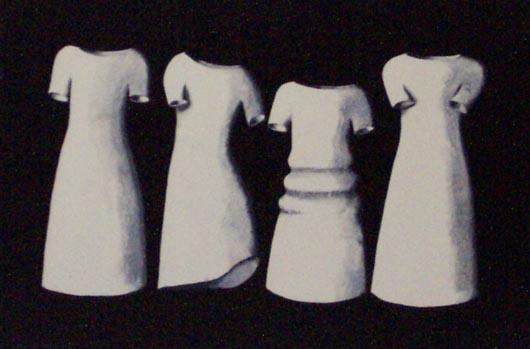 Quattro abiti, 1996, tecnica mista su carta, cm 20x30