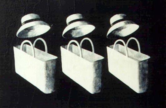 Cappelli e sporte, 1999, tecnica mista su carta, cm 20x30