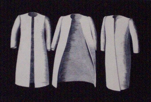 Tre cappotti, 1996, tecnica mista su carta, cm 20x30
