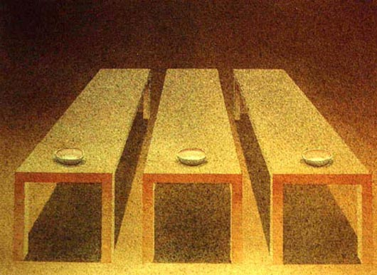 Tre tavoli e tre ciotole, 2001, tecnica mista su carta, cm 31x41