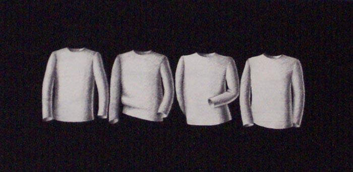 Quattro maglie, 1996, tecnica mista su carta, cm 20x40