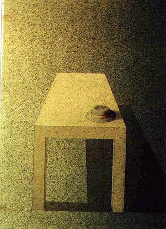 Il cappello sul tavolo, 1999, tecnica mista su carta, cm 23x31