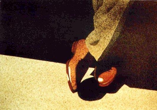 Pantaloni di tweed, 2001, tecnica mista su carta, cm 36x51