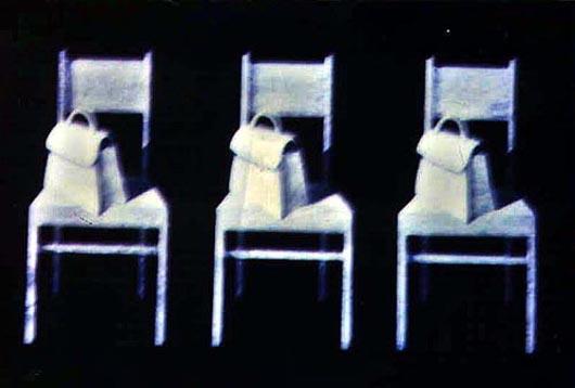 Sedie e borsette, 1999, tecnica mista su carta, cm 20x30