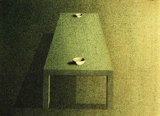Sul tavolo due ciotole, 1999, tecnica mista su carta, cm 26x36