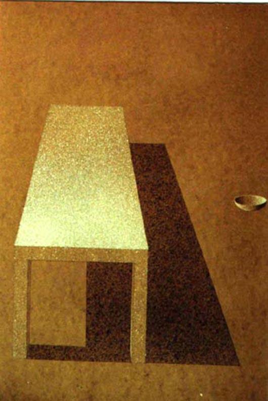 Tavolo bianco, 2001, tecnica mista su carta, cm 23x31