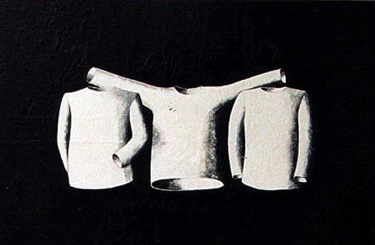 Tre maglioni, 1999, tecnica mista su carta, cm 20x30