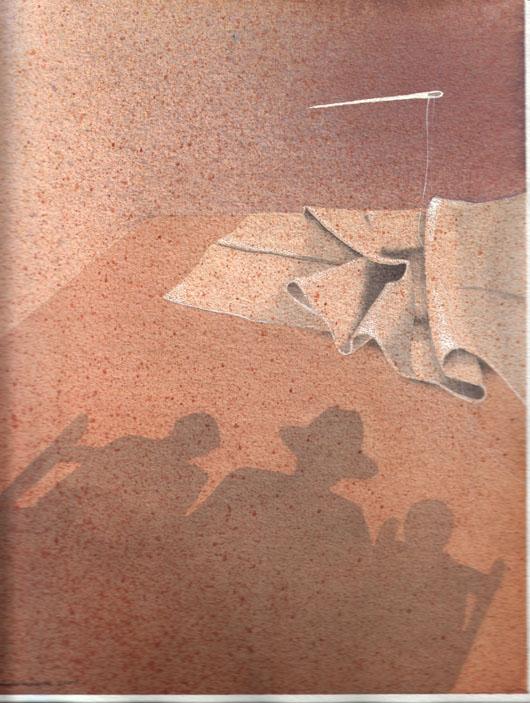 Ago e filo, 2001, tecnica mista su carta, cm 18x24
