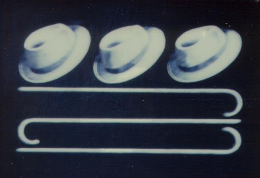 Cappelli e bastoni, 1999, tecnica mista su carta, cm 20x30