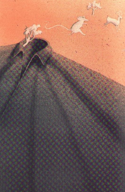 Fuori dal tabarro, 2000, tecnica mista su carta, cm 25x35