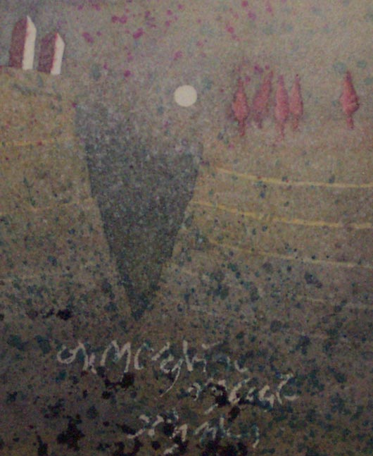 La luna tra i monti, 1995, tecnica mista su carta, cm 18x24