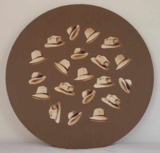 Volo di cappelli, 1996, tecnica mista su carta, diametro cm 60