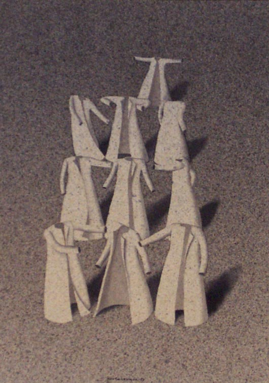 Piramide, 1997, tecnica mista su carta, cm 25x30