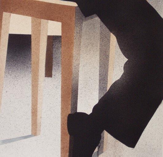 Sgabello, 2002, tecnica mista su carta, cm 51x51