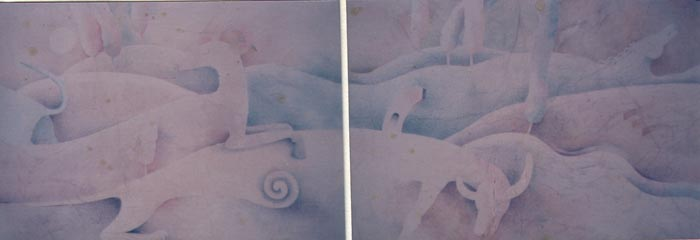 Zoomorfo 2, 1986, acquerello, cm 70x200