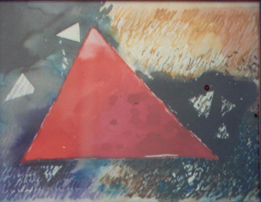 Il triangolo rosa, 1989, acquerello, cm 30x50