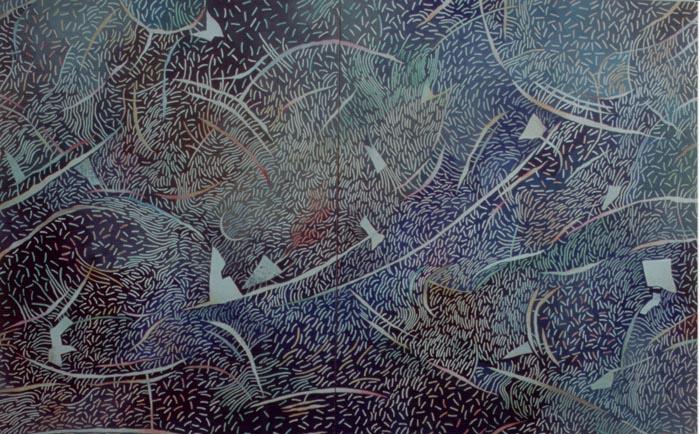 Farfalle e altro, 1989, olio su tavola, cm 100x160
