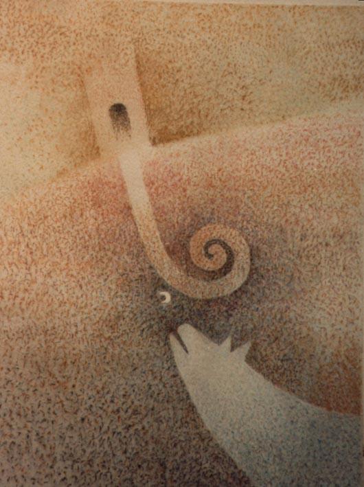 Luna e lupo, 1986, acquerello, cm 30x50