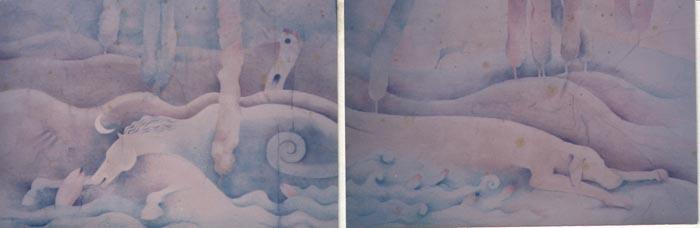 Zoomorfo, 1986, acquerello, cm 70x200