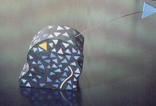 Scultura tre, 1989,legno rivestito di carta dipinta