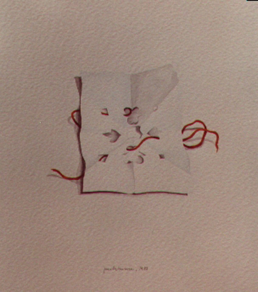Carta e filo, 1984, acquerello, cm 30x50