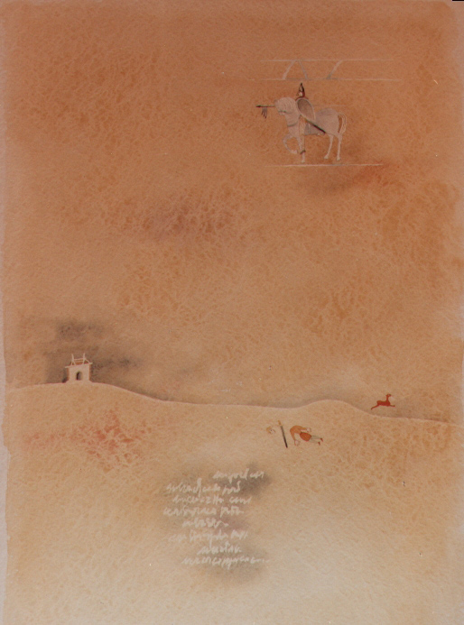 Morto all'alba, 1984, acquerello, cm 36x51