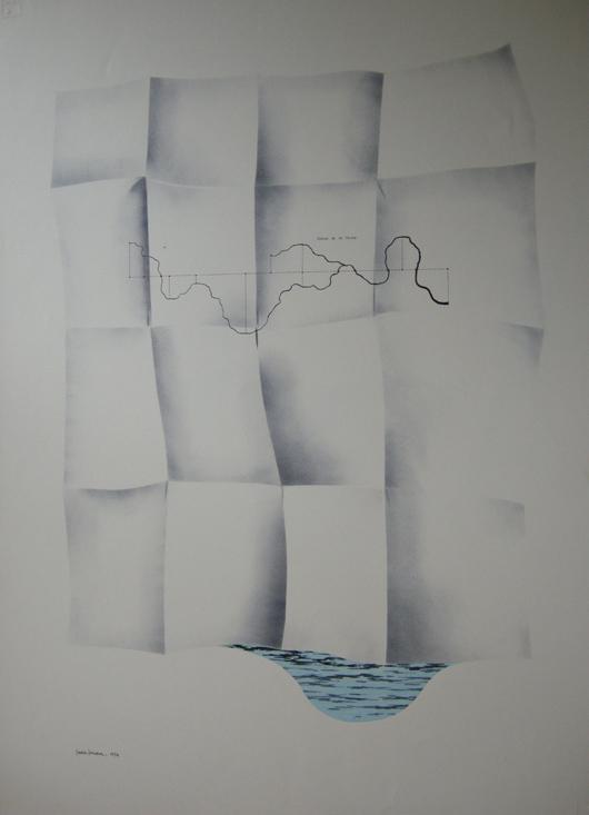 Foglio e acqua, 1973, inchiostro e timbro, cm 35x50