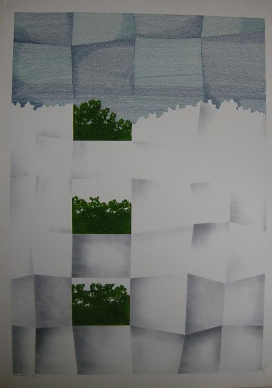 Foglio e cespugli, 1973, inchiostro e timbro, cm 35x50