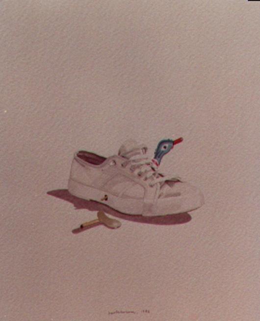 Tennis e chiavetta, 1983, acquerello, cm 20x30