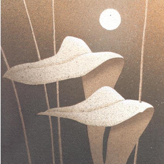 Due foglie e la luna, 2013, tecnica mista su carta, 20x20cm