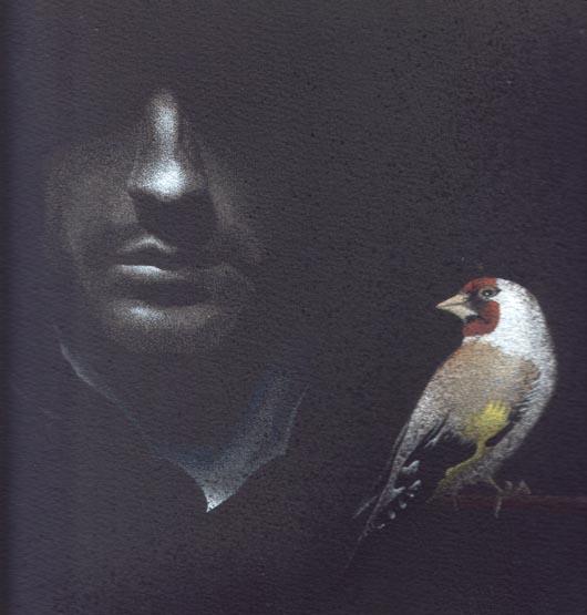 Al buio, 2011, tecnica mista su carta, 23x23cm
