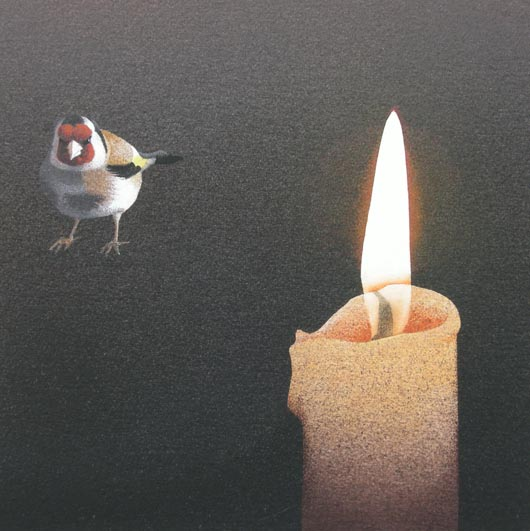 Al lume di candela, 2012, tecnica mista su carta, 23x23cm
