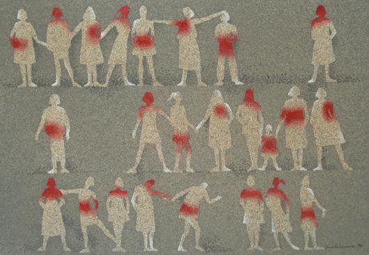 Vittime,1997, bozzetto per  manifesto, cm 18x261