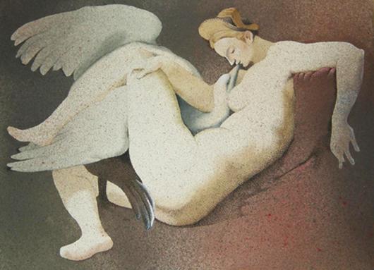 Leda col cigno (libera interpretazione), 2013, tecnica mista su carta, cm 33x24