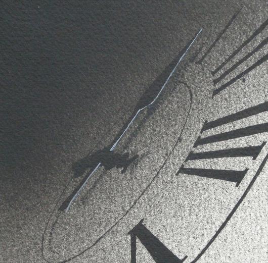 Tra poco, 2014, tecnica mista su carta, cm 12x12