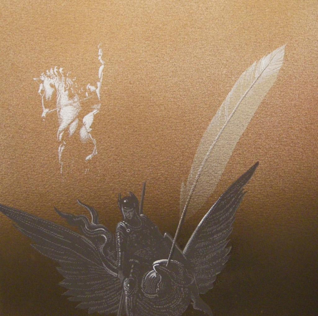 Ippogrifo di Doré e la penna di Ariosto, 2015, tecnica mista su carta, cm 35x35