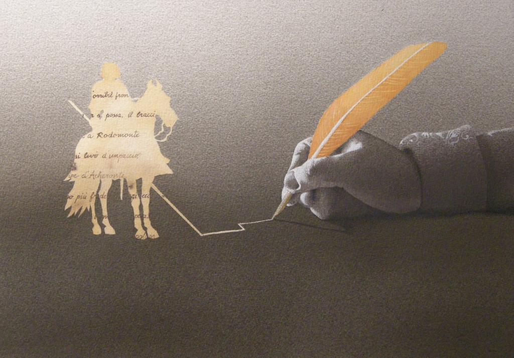 L'audaci imprese io scrivo, 2015, tecnica mista su carta, cm 30x42