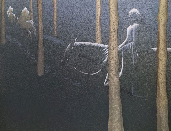Canto XII, 2016, tecnica mista su carta, cm 18x24